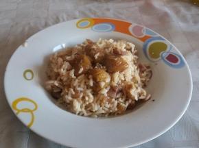 riso con ragù di castagne e pancetta