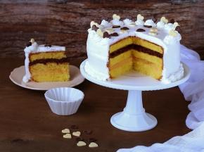 Torta farcita con crema pasticcera e crema al cioccolato