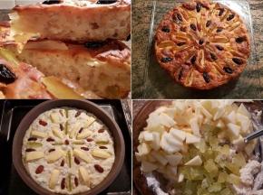 Torta di mele, ricotta e grano cotto