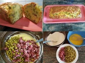 Plumcake con piselli e salame