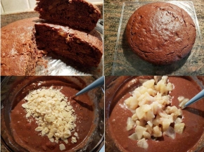 Torta integrale al cacao, pere e mandorle