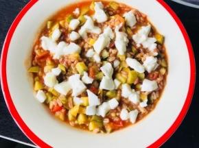 Risotto di farro con zucchine e mozzarella