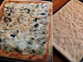 Pizza alta con spinaci, prosciutto e zola
