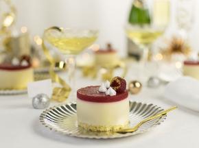 Mousse allo Champagne con gelée ai Lamponi