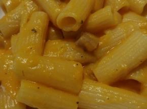 Pasta con crema di zucca e pancetta