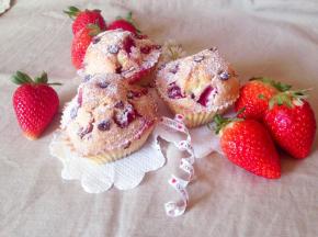 Muffin con fragole e gocce di cioccolato🍓