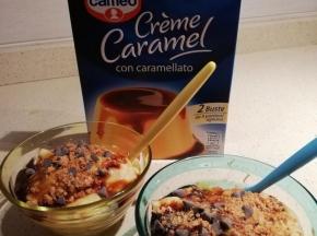 Creme caramel con amaretti e gocce di cioccolato
