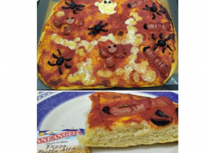 Pizza alta in teglia 🍕decorata👻🕷️🦇 ...pizza spettrale