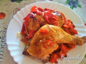Cosce di pollo al forno con peperoni