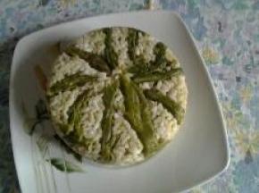 Timballo di riso con asparagi
