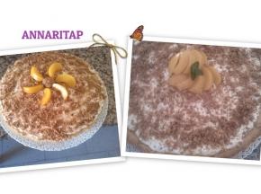 Crostata cheescake con pesche ed amaretti
