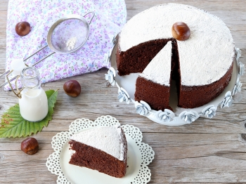 Torta soffice cioccolato, castagne e cardamomo