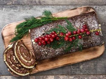 A Natale, il taglio del tronchetto dolce