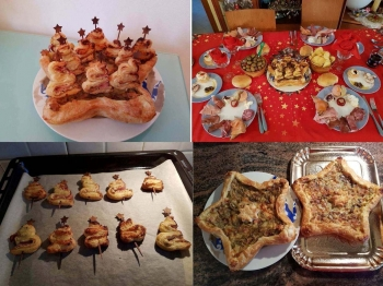 Alberelli di sfoglia su torta salata ai carciofi
